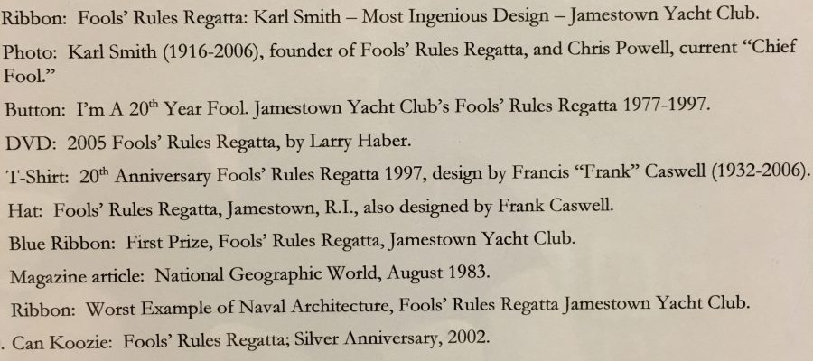 Library Exhibit – August 2017: Fools' Rules Regatta