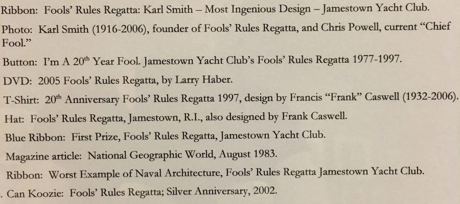 Library Exhibit – August 2017: Fools' Rules Regatta