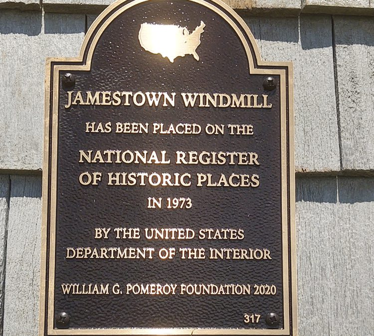 National Register Plaque at the Jamestown Windmill